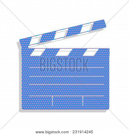 Film Clap Board Cinema Sign. Vector. Neon Blue Icon With Cyclamen Polka Dots Pattern With Light Gray