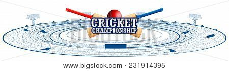 Illustration Of Stadium Of Cricket With Pitch For Champoinship Match And Supporter Fan People Cheeri