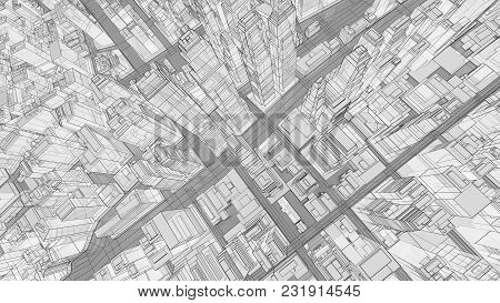 Sketch Of Modern City, Aerial View. 3d Illustration