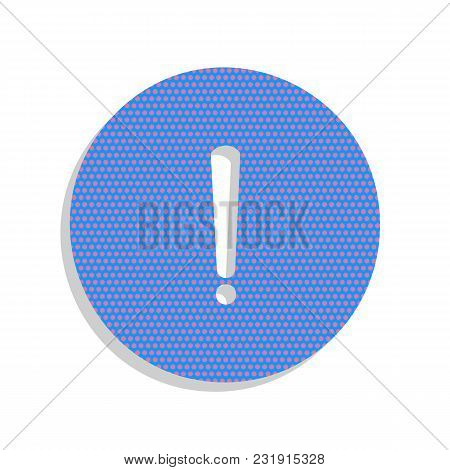 Exclamation Mark Sign. Vector. Neon Blue Icon With Cyclamen Polka Dots Pattern With Light Gray Shado