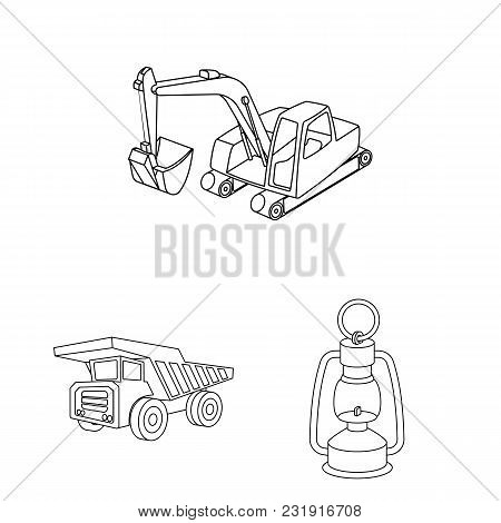Mining Industry Outline Icons In Set Collection For Design. Equipment And Tools Vector Symbol Stock