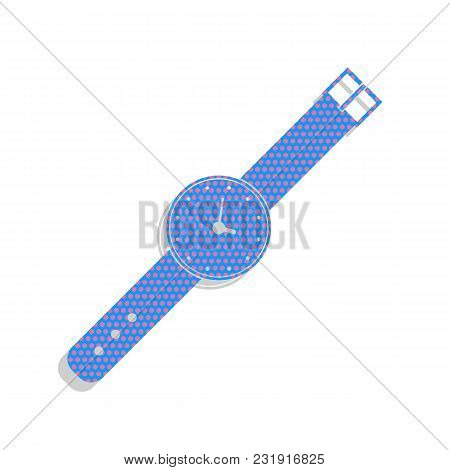 Watch Sign Illustration. Vector. Neon Blue Icon With Cyclamen Polka Dots Pattern With Light Gray Sha