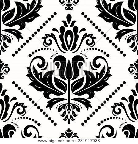 Classic Seamless Vector Pattern. Damask Orient Ornament. Classic Vintage Back And White Background