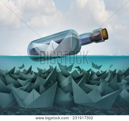 Concept Of Survival And Smart Competition Strategy And Tenacity As A Paper Boat In A Bottle Survivin