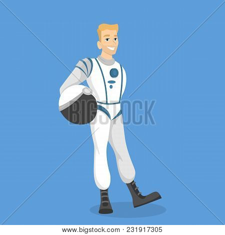 Isolated Man Astronaut In Costume On Blue.