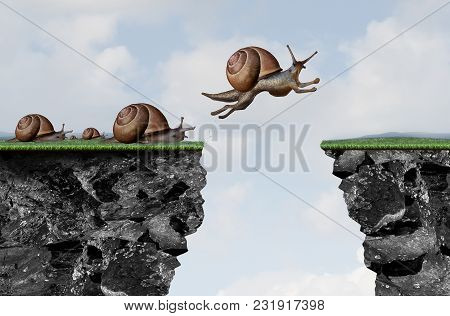 Innovation leadership philosophy as a business motivation with change idea as a snail jumping over a cliff with 3D illustration elements. poster