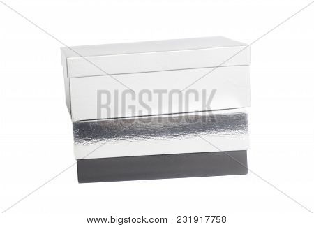 Blank Gray And Silver Box Containers On White Background
