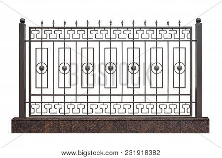 Modern Decorative Fence With Pillar. Isolated Over White Background.