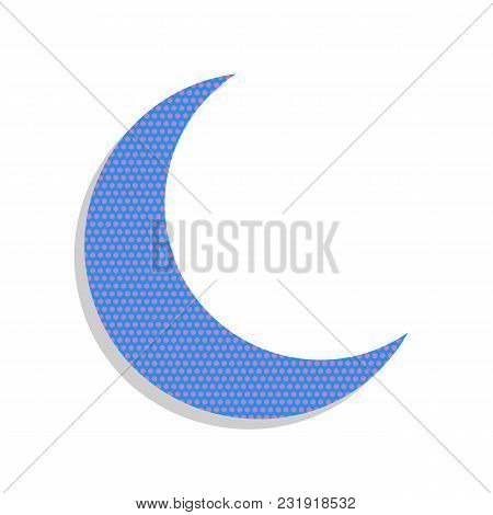 Moon Sign Illustration. Vector. Neon Blue Icon With Cyclamen Polka Dots Pattern With Light Gray Shad