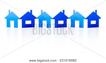 3d illustration of a paper cutout row of blue houses background