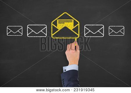Email Marketing, Newsletter And Bulk Mail Concepts On Blackboard