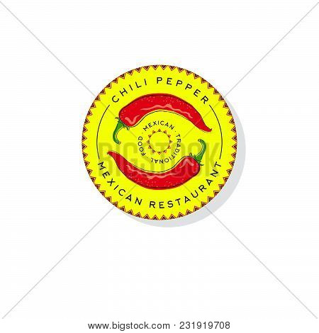 Hot Chili Peppers Logo. Pepper Icon. Chili Peppers Illustration. Traditional Mexican Food Emblem. Ch