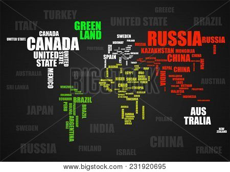 Typography Colorful World Map With Country Names. Vector
