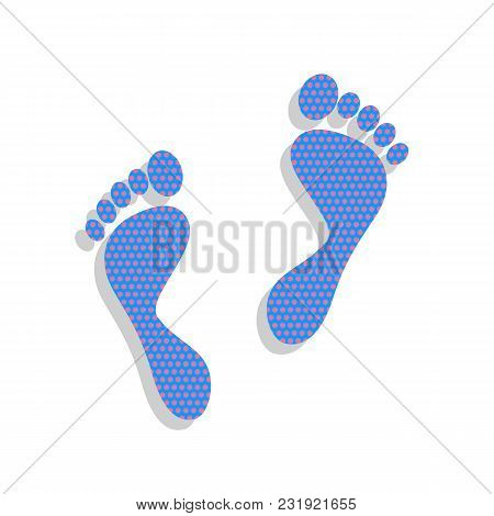 Foot Prints Sign. Vector. Neon Blue Icon With Cyclamen Polka Dots Pattern With Light Gray Shadow On