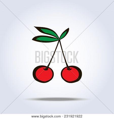 Pair Of Cherries Icon On Gray. Vector Illustration