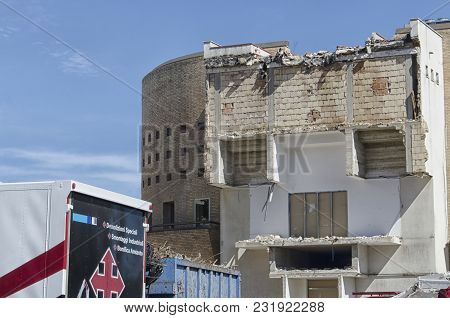 View Of A Demolished Building That Looks Like A Face