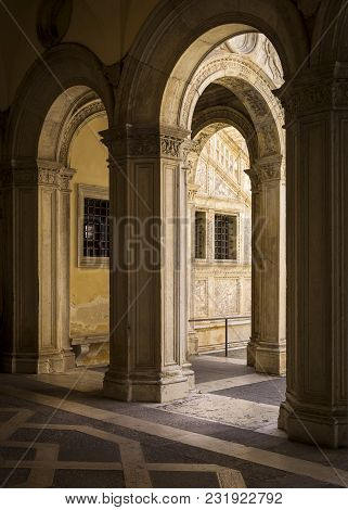 Detail Of The Archways At The Doges Palace, Venice.