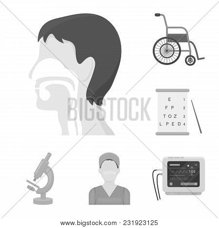 Medicine And Treatment Monochrome Icons In Set Collection For Design. Medicine And Equipment Vector