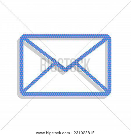 Letter Sign Illustration. Vector. Neon Blue Icon With Cyclamen Polka Dots Pattern With Light Gray Sh
