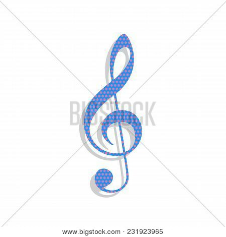 Music Violin Clef Sign. G-clef. Treble Clef. Vector. Neon Blue Icon With Cyclamen Polka Dots Pattern