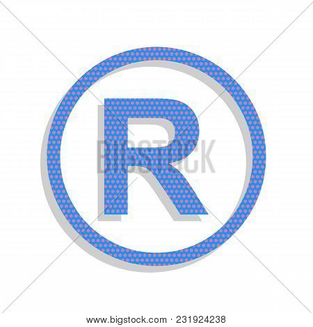 Registered Trademark Sign. Vector. Neon Blue Icon With Cyclamen Polka Dots Pattern With Light Gray S