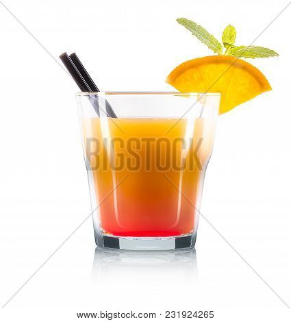 Mimosa Cocktail In Old Fashioned Glass With Slice Of Orange, Mint And Black Straw Isolated On White