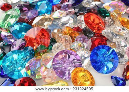 Various colorful precious stones for jewellery, closeup