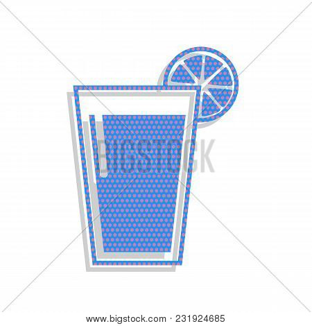 Glass Of Juice Icons. Vector. Neon Blue Icon With Cyclamen Polka Dots Pattern With Light Gray Shadow