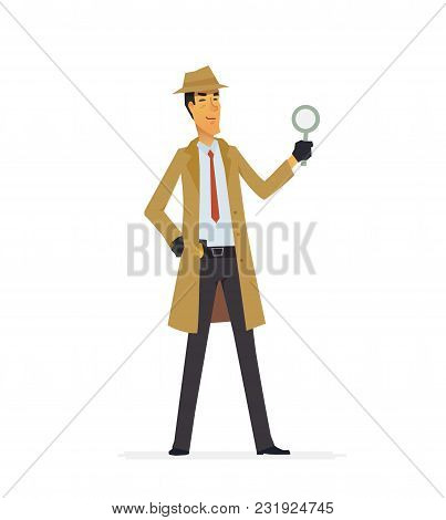Private Detective - Cartoon People Characters Illustration Isolated On White Background. An Image Of