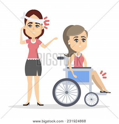 Women With Broken Body Parts In Bandage And On Wheelchair On White.
