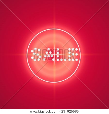 Sale Glowing Neon Sign With Target On The Red Background.