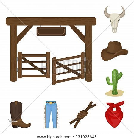 Rodeo, Competition Cartoon Icons In Set Collection For Design. Cowboy And Equipment Vector Symbol St