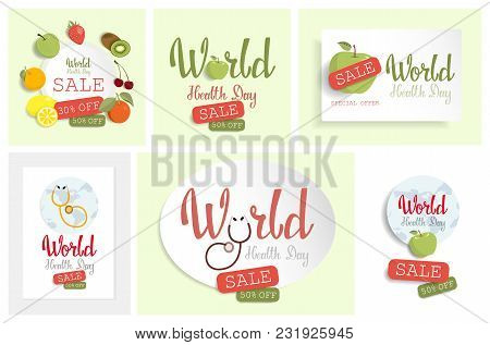 World Health Day Sale Offer Set With Fresh Fruits.