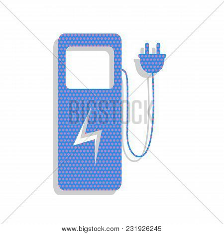 Electric Car Charging Station Sign. Vector. Neon Blue Icon With Cyclamen Polka Dots Pattern With Lig