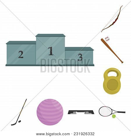 Different Kinds Of Sports Cartoon Icons In Set Collection For Design. Sport Equipment Vector Symbol