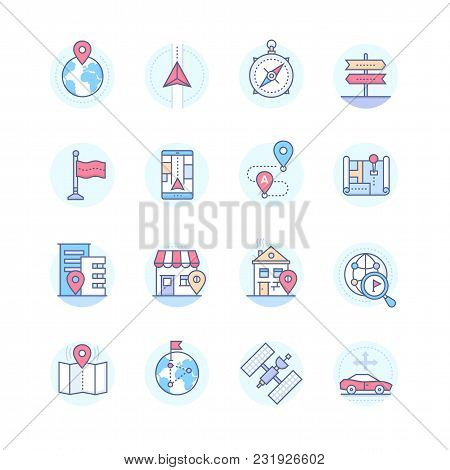 Geolocation - Modern Vector Line Design Style Icons Set In Blue Round Frame. Tags On A Globe, Buildi