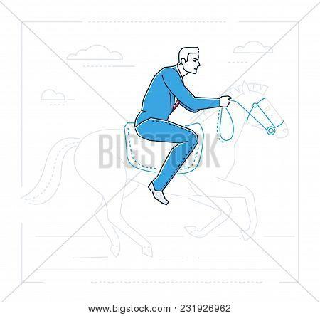 Businessman On Horseback - Line Design Style Isolated Illustration On White Background. Metaphorical