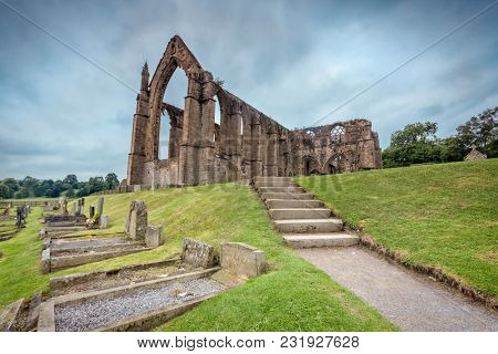 Bolton Abbey in Wharfedale in North Yorkshire, England, with the ruins of a 12th-century Augustinian monastery