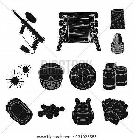 Paintball, Team Game Black Icons In Set Collection For Design. Equipment And Outfit Vector Symbol St
