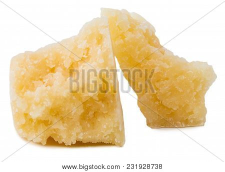 Parmesan Cheese Pieces Isolated On White Background. Italian Hard Mature Cheese Slices. Macro