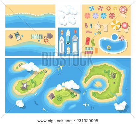 Beach Holiday - Modern Vector Set Of Illustrations. Top View Position Of Islands, Sea Costs With Rec