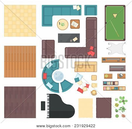 Club Interior Elements - Set Of Modern Vector Objects Isolated On White Background For Creating Your