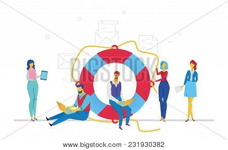 Colleagues Help Each Other - Flat Design Style Colorful Illustration On White Background. A Metaphor