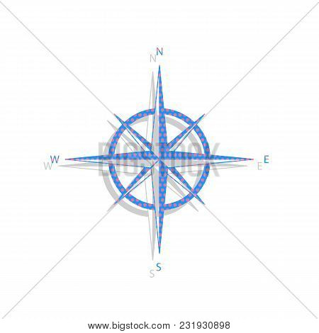 Wind Rose Sign. Vector. Neon Blue Icon With Cyclamen Polka Dots Pattern With Light Gray Shadow On Wh