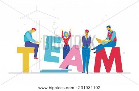 Team - Flat Design Style Colorful Illustration On White Background With Bright Creative Headline. A