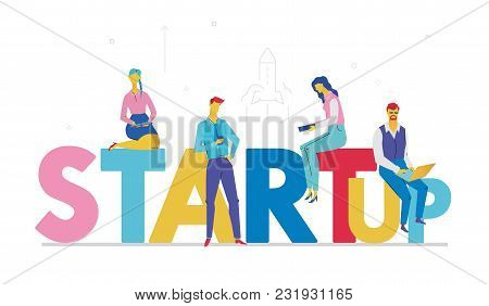 Startup - Flat Design Style Colorful Illustration On White Background With Bright Creative Headline.