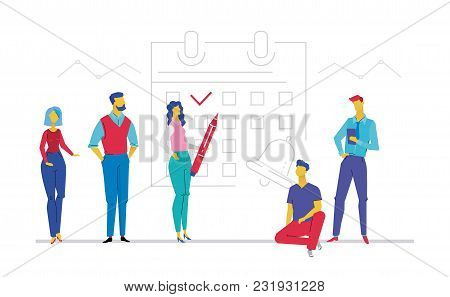 Business Planning - Flat Design Style Colorful Illustration On White Background. A Composition With