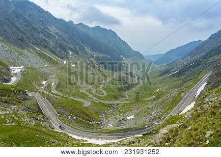 Landscape With Transfagarasan Road In Fagaras Mountains, Romania. Transfagarasan, The Most Famous Ro