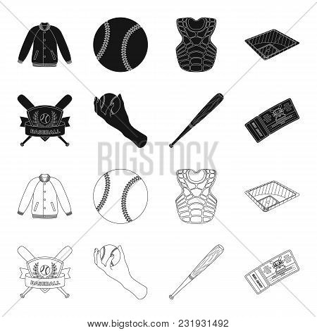 Club Emblem, Bat, Ball In Hand, Ticket To Match. Baseball Set Collection Icons In Black, Outline Sty