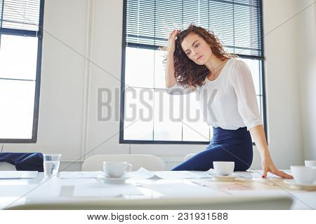 Woman as entrepreneur thinking decision for business project